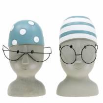 Dekorativ huvudsimmare med glasögon och badmössa blåvit H15cm / 16cm 2st