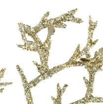 Korallgren med glimmer i ljusguld 3st