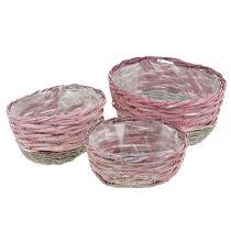 Korg oval uppsättning av 3 rosa, naturliga