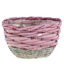 Runda korg med 3 Ø14cm - 24 cm rosa, naturliga