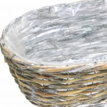 Planteringskorg, oval, naturlig, tvättad vit 37/43 / 49cm, set om 3