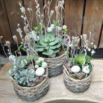Vävd korg oval planter natur, grå 29 / 24cm, uppsättning 2