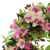 Blommakrans med hortensior och bärrosa Ø30cm