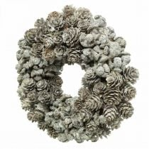 Dekorativa kranskottar lärk och cypress vita, glitter Ø20cm 2st