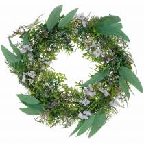 Dekorativ krans eukalyptus, ormbunke, blommor Konstgjord krans Bordskrans