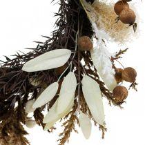 Dekorativ krans konstgjord torr gräs och frukt dörrkrans Ø50cm