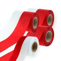 Kransband moiré vit-röd