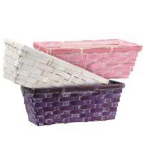 Spånkorg fyrkantig lila / vit / rosa 6st