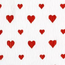 Crepe papper med hjärtan Florists crepe Mothers Day röd, vit 50 × 250 cm