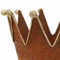 Dekorativ kruka krona rostfritt stål guld Ø13.5cm H11.5cm 2st