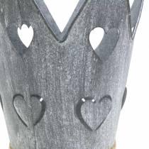 Zinkpanna krona hjärtan tvättade grå set Ø12 / 14cm