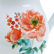 Dekorativ kanna, blomvas vintage look, emaljkanna med rosmotiv H19cm