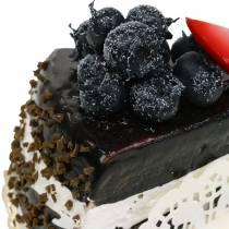 Tårta bit choklad konstgjord 10 cm