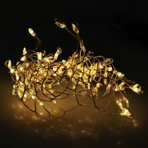 LED-ljuskedja varmvit silver 100cm 100L för batteri