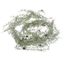 Lärkrans grön / isad med kottar 180cm