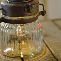 LED-lykta, hängande lampa, solljus i glas Ø11cm H14cm