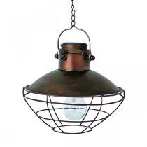 LED-hängande lampa, rustik hänglampa, soldriven Ø24,5cm H24cm