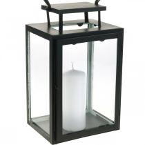 Dekorativ lykta svartmetall, rektangulär glaslykta 19x15x30,5cm
