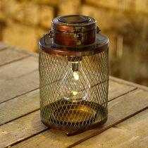 Metalllykta, sollampa, LED, antik optik Ø13,5cm H28,5cm