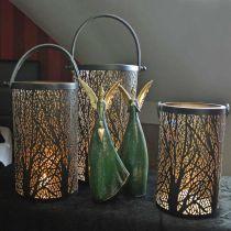 Metalllykta, lykta med träd, höstdekoration, svart, gyllene Ø20 / 19 / 14cm H23.5 / 17 / 12.5cm