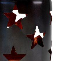 Lykta med stjärnmönster svart koppar Ø10cm H13.5cm