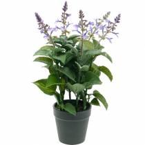 Konstgjord lavendel i en kruka, lavendelkruka, medelhavs konstgjord växt