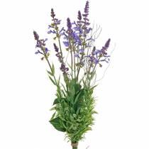 Konstgjord lavendelbukett, dekorativ lavendelviolett, sidenblommor