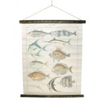 Dekorativ rullmålning av linne med fisk 60cm x 72cm