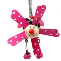 Wind chimes nyckelpiga trä rosa 12cm