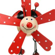 Wind chimes nyckelpiga trä röd 12cm