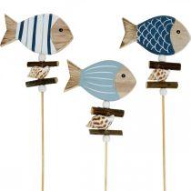 Maritima dekorativa pluggar, fisk och skal på pinnen, marina dekorationer, träfisk 6st