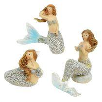 Dekorativ figur sjöjungfrun blå 6cm - 9,5 cm 3st