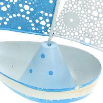 Dekorativ segelbåt gjord av metallblå, vit 12,5 cm x 20,5 cm 2 st