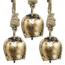 Metallklockor att hänga, lantlig dekoration, gyllene ko-klockor, antikt utseende 5 × 3,5 cm 12st