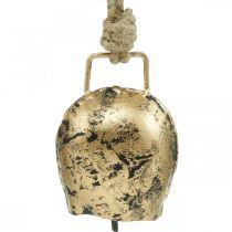 Klockor att hänga, minikoklockor, lantgård, metallklockor gyllene, antikt utseende 7 × 5 cm 12st