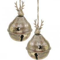 Metallklockor med rendekoration, adventsdekoration, julklocka med stjärnor, guldklockor antikt utseende Ø9cm H14cm 2st