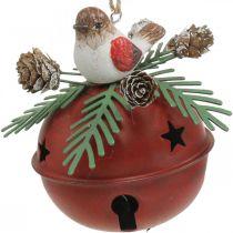 Klockor med robins, fågelpynt, vinter, dekorativa klockor till jul vit / röd Ø9cm H10cm uppsättning med 2