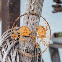 Metallhängare, igelkott på gren, höstdekoration, dekorativ ring, rostfritt stålram Ø15,5cm 3st