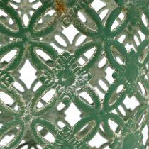Metallkorg oval med handtag 25 cm x 16,5 cm H21cm grön