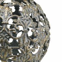 Boll att hänga med ornament antikt utseende gyllene metall Ø12cm