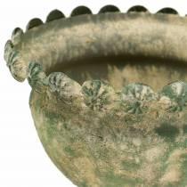 Dekorativ kopp antik look metallmossgrön Ø13cm H14.5cm