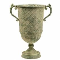 Dekorativ bägare med diamantmönster antik look metallmossgrön Ø24,5cm H45cm