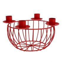 Metallskål med 4 ljusstake röda Ø22cm