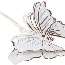 Metallfjäril för hängande vit 7cm 6st