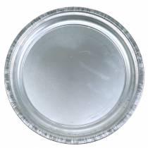 Dekorativ platta metallglansig Ø36cm H3cm