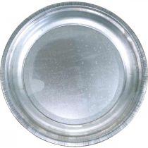 Dekorativ tallrik, arrangemangsunderlag, metallplatta silver, bordsdekoration Ø26cm