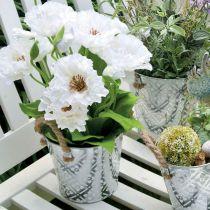 Metalkruka för plantering, blomkruka med handtag, planter med blommönster Ø18cm