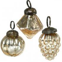 Mini-trädbollar, diamant / kula / kon, trädhängningar blandar antikt utseende Ø3–3,5cm H4,5–5,5cm 9st