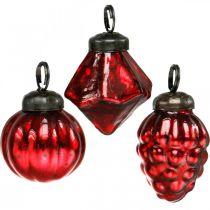 Mini träd dekorationsblandning, diamant / boll / kon, glaskulor antikt utseende Ø3–3,5cm H4,5–5,5cm 9st