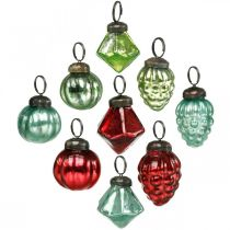 Mini julgranbollmix, diamant / boll / kon, glaskulor antikt utseende Ø3–3,5cm H4,5–5,5cm 9st